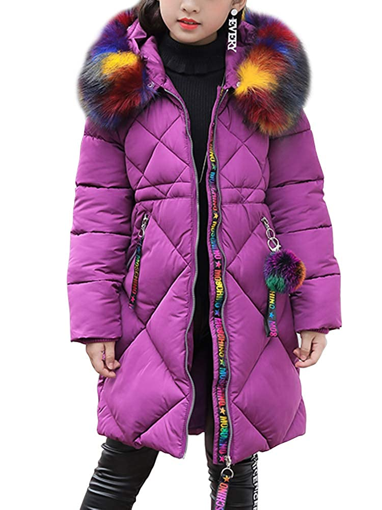 select for best fashion style of 2019 compare price OCHENTA Girls' Puffer Down Coat Winter Jacket with Faux Fur Trim Hood