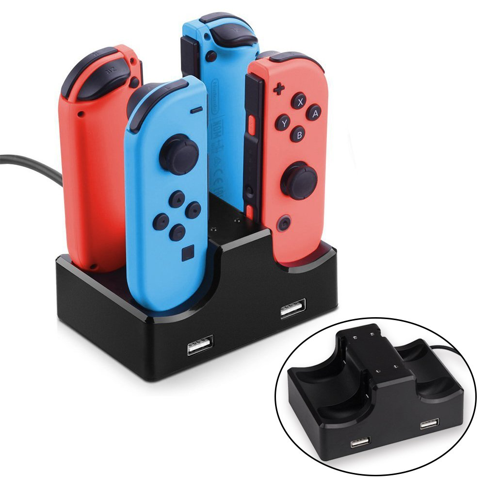 2win2buy Joy Con Charger Dock Compatible with Nintendo Switch with LED Indication 4 in 1 Compact Charging Station Stand Controller Holder with 2-Port USB Hub Charge for Phone Controller