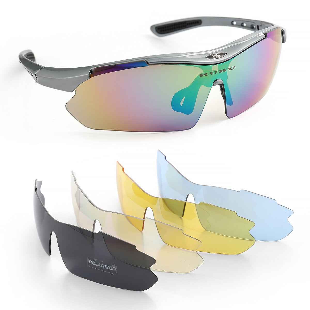 54e2d2ba3097 SPOSUNE Cycling Glasses Bicycle Sunglasses multi-purpose Sports Glasses  with 4Pcs Replacement Lenses For Riding Running Driving Climbing Motorcycle  And All ...