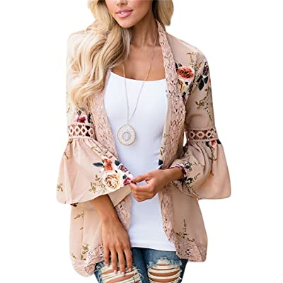 Womens Kimono Cardigans Floral Tops Print Chiffon Beach Cover ups Loose Casual Blouses at Women's Clothing store