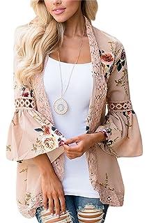 PRETTODAY Womens Floral Print Kimonos Loose Half Sleeve ...