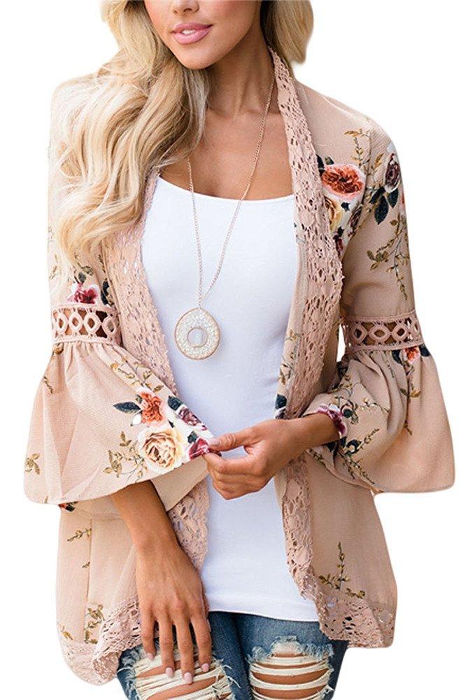 Women 3/4 Sleeve Floral Print Kimono Cardigan Blouse Top(Khaki,L)