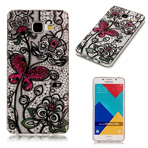 Lightweight Case for Galaxy A5 2016,Galaxy A5 2016 Cover,Vandot HD Printing Soft TPU Transparent Back Cover Colorful Pattern Slim Thin Shockproof Rubber Cover Case -Black Lace Butterfly