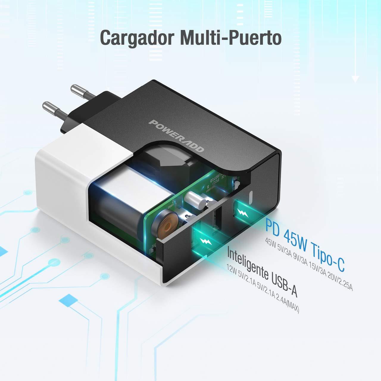 POWERADD 57W Adaptador de Corriente con 45W USB-C y Dos Puerto de 12W, Cargador para PD Laptop Tipo C, Compatible con Macbook Pro 13 Pulgadas ...