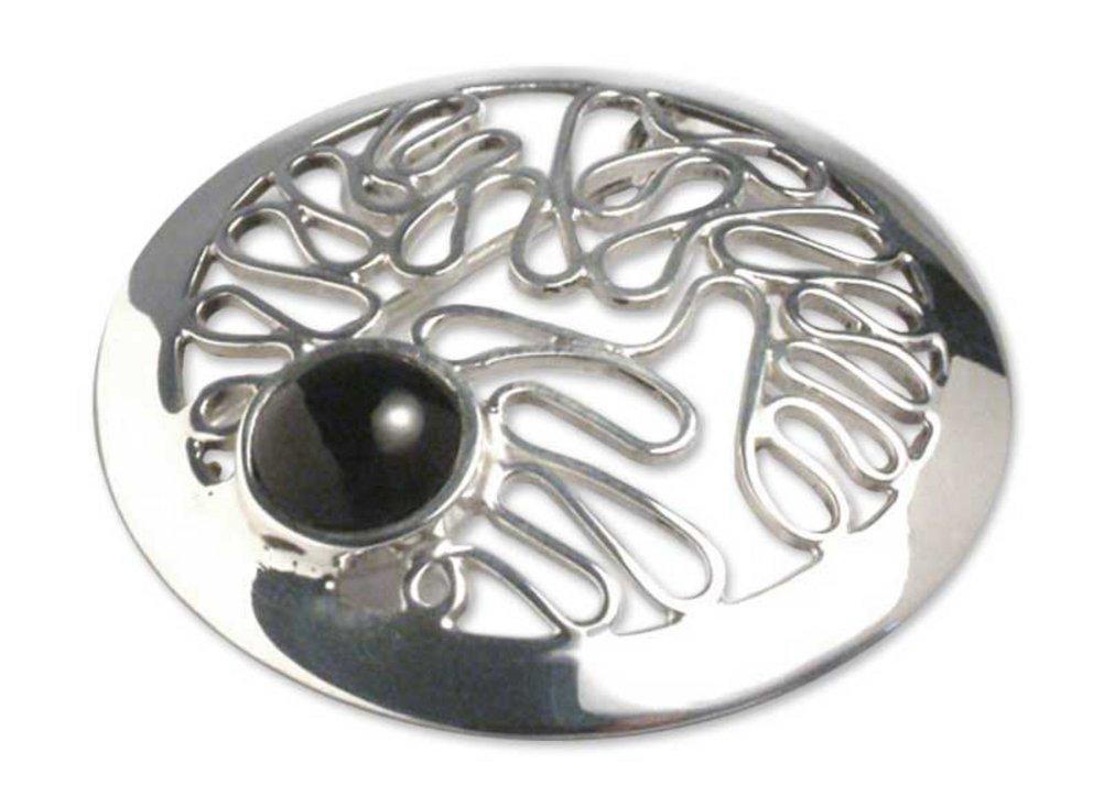 NOVICA Obsidian .925 Sterling Silver Brooch 'Moonbeams' by NOVICA