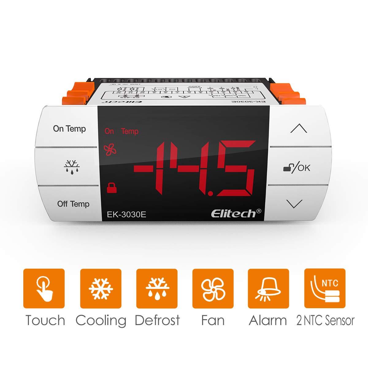 Elitech STC-1000 Controlador de temperatura digital de -40℃-99℃, Termostato Digital Calefacción y Refrigeración ek-3030e, Descongelación forzada, IP65, Botón táctil