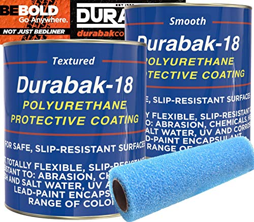 Durabak Marine Liner Kit - DIY Non-Slip Deck Floor Coating, Polyurethane Boat Paint, 1 Coat Textured, 1 Coat Smooth, Used by US Navy, one Part, Easy Application (Light Gray, 2 Gallons - 120sq.ft)
