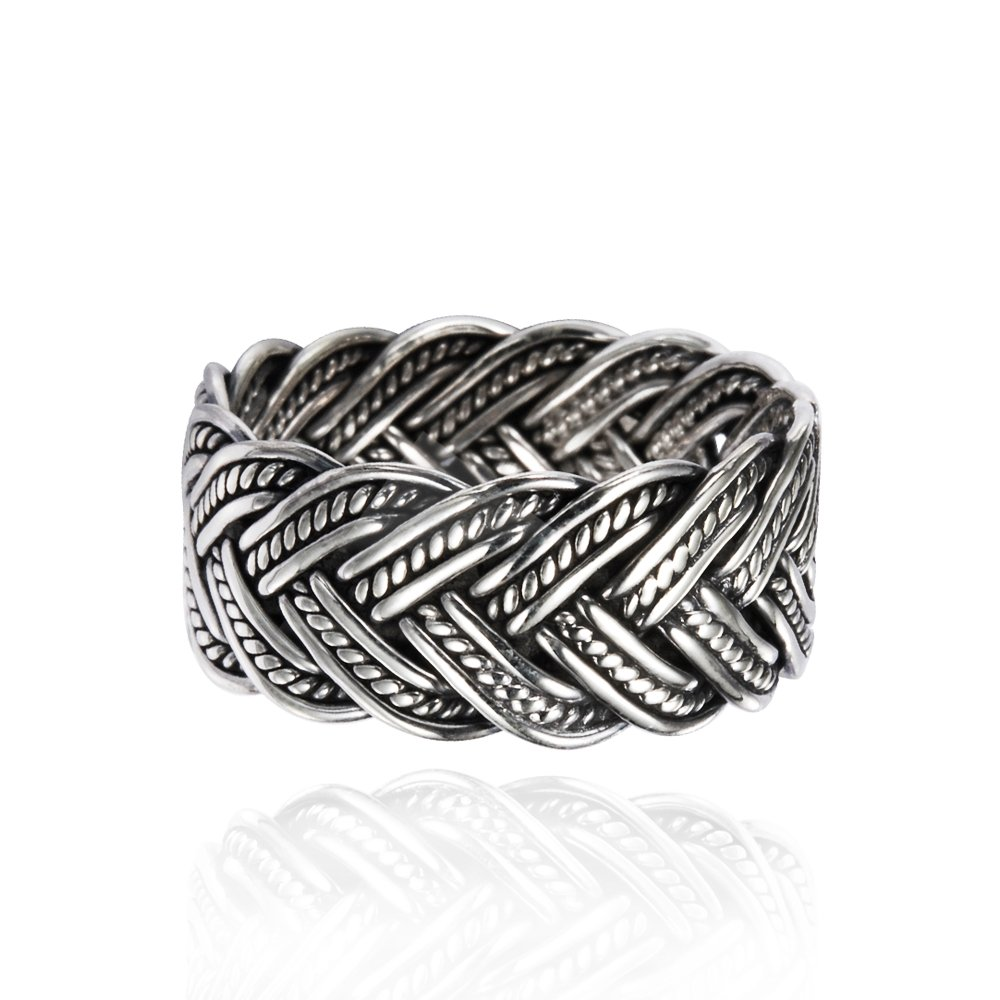 925 Oxidized Sterling Silver 10 mm Braided Woven Wave Antique Style Band Thumb Ring - Size 11
