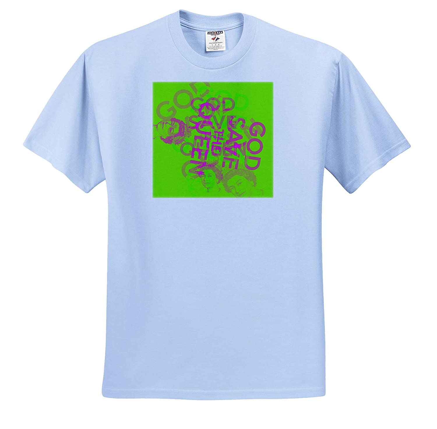 Pink Typography on Green 3dRose Uta Naumann Sayings and Typography T-Shirts God Save The Queen