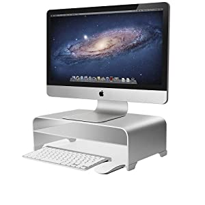 2 Tiers Aluminum Monitor Stand Shelf Riser Metal Desk Stand Base up to 27 inches Screens for PC, Laptop, Computer, iMac, MacBook with Storage Organizer Space for Magic Keyboard & Mouse(Silver)