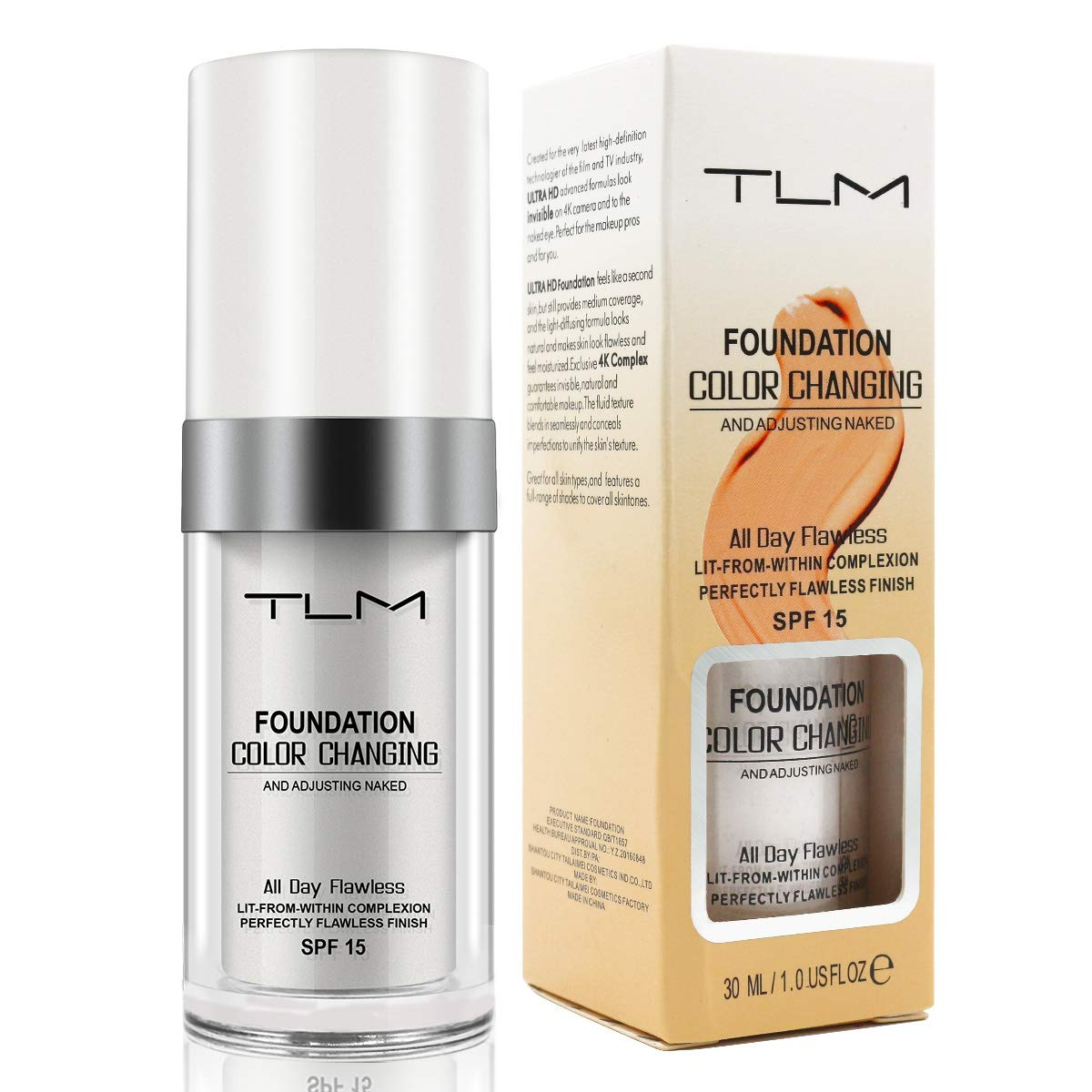 TLM Concealer Cover Cream, Foundation Fluid, Warm Skin Tone, Flawless Colour Changing Foundation Makeup, Cosmetics for Women and Girls