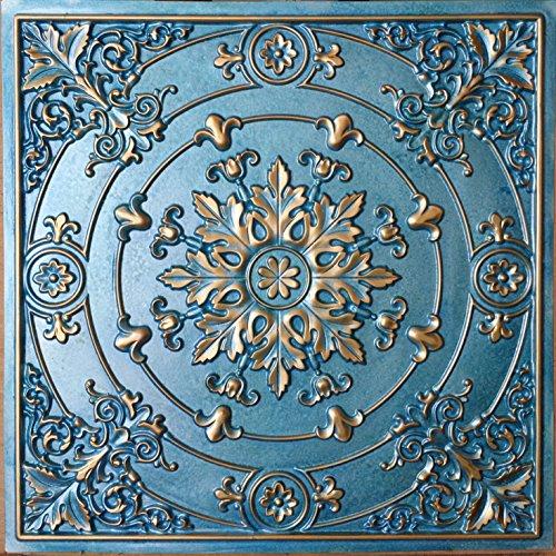 Drop in Ceiling Tiles Faux Tin Cyan gold Cafe Decor ceiling Panels PL18 10pcs/lot