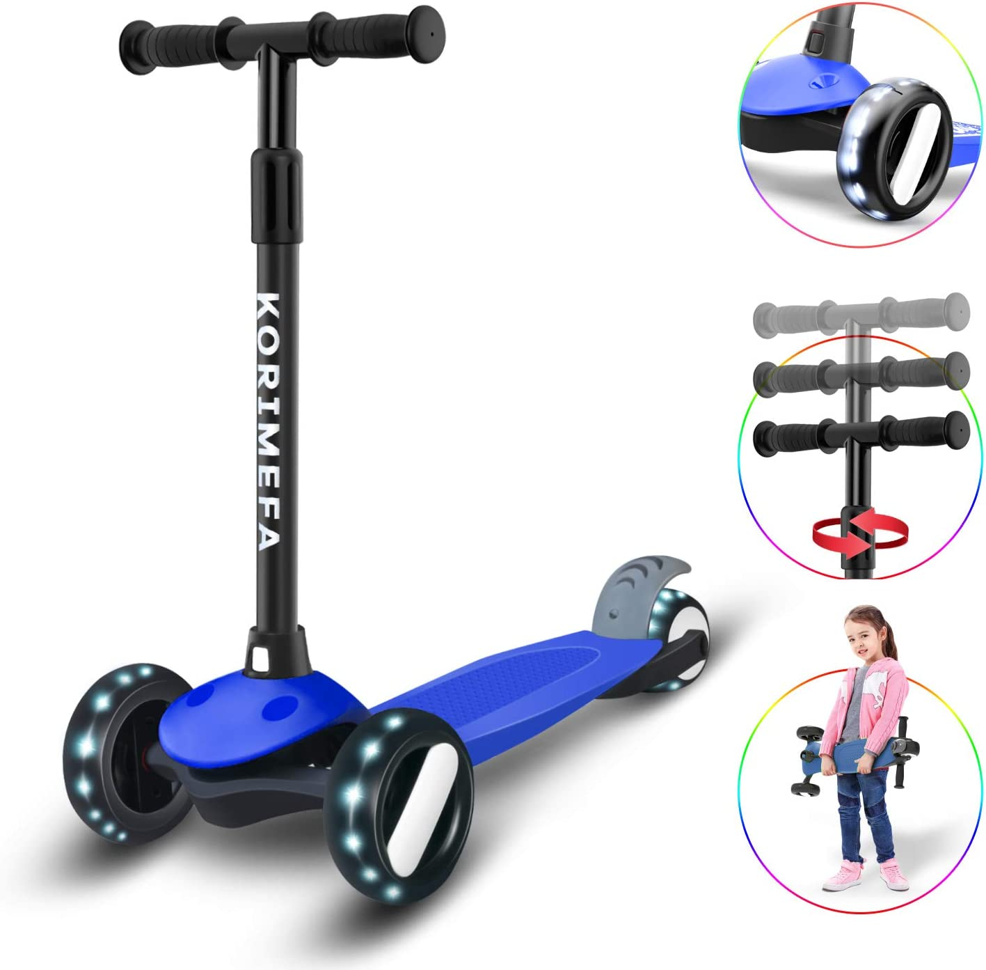 KORIMEFA Kick Scooter for Kids 3 Wheel Scooter for Toddlers Girls Boys Lightweight 4 Adjustable Height Lean to Steer with PU Flashing Wheels Scooter for Children from 2 to 6 Years Old