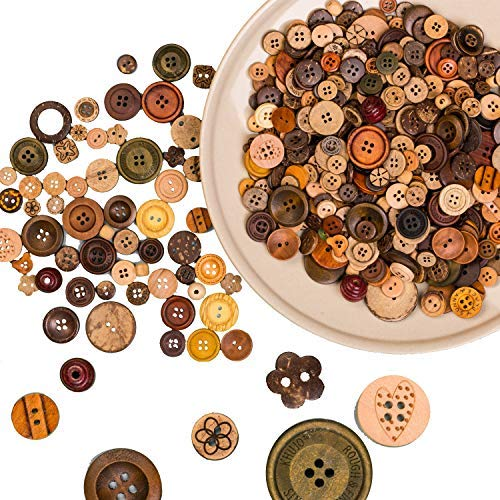 800 PCS Crafts Assorted Wood Buttons Resin Round Craft for Kid's Button Painting ()