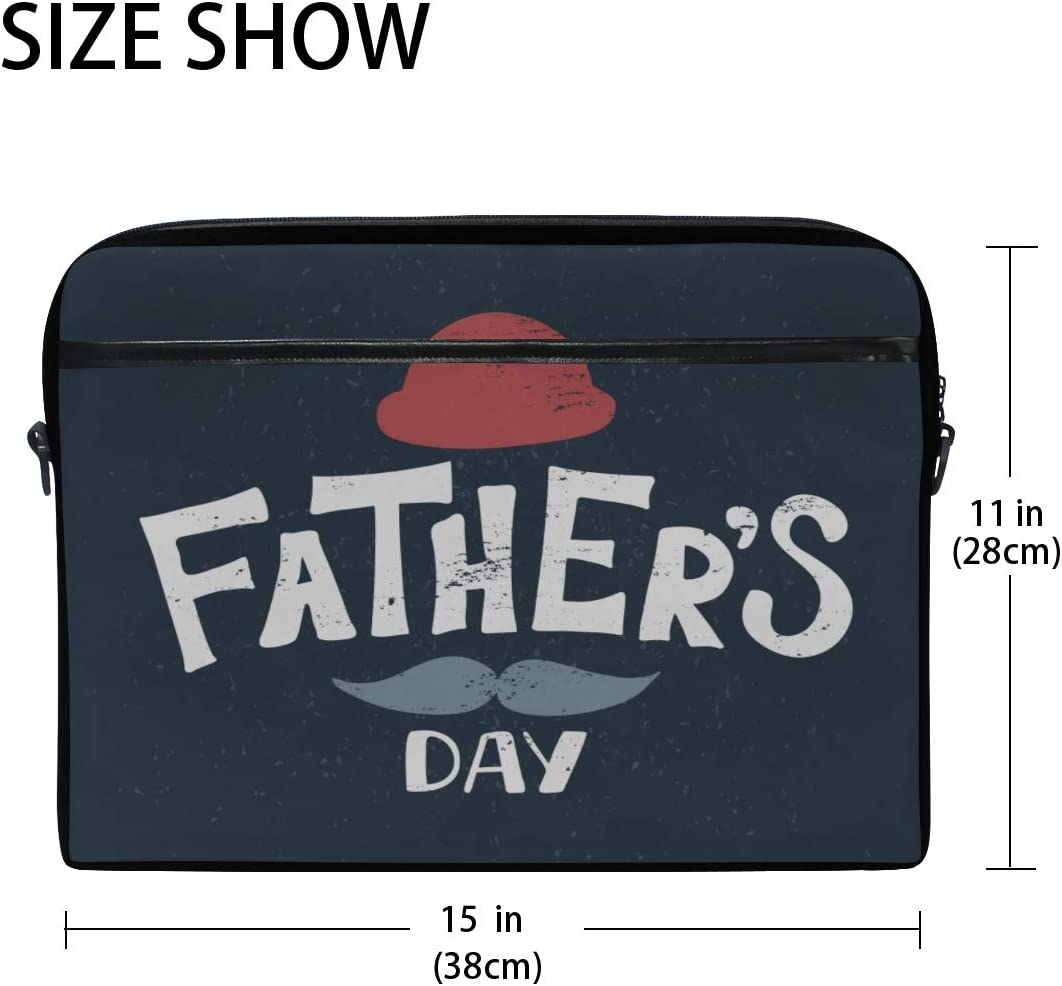 Laptop Bag Lettering Mustache Fathers Day 15-15.4 Inch Laptop Case Briefcase Messenger Shoulder Bag for Men Women College Students Business People
