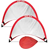 Hit Run Steal Portable Pop Up Soccer Goals Set of 2 - Two Folding Portable Soccer Goals with Carry Case - Available in 2.5ft,
