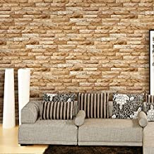 Blooming Wall Yellow 20075 Faux Vintage Brick Stone Tiles Wallpaper Wall Mural for Kitchen Bathroom Livingroom,57 Sq Ft/Roll