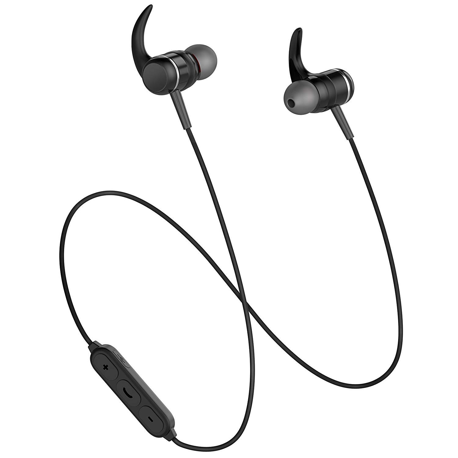 Fiveblessing Bluetooth Headphones 4.1 in-Ear Earphones, Magnetic Wireless Earbuds for Running, High-Fidelity Stereo Earphones with Microphones[Black]
