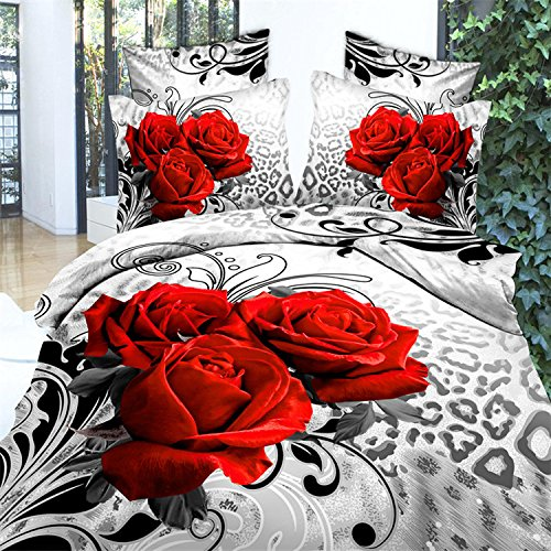 3d Leopard Rose Print Bedding Sets, 100% Cotton Queen Size 3d Bedding Sets, 4pcs with Duvet Cover, Bed Sheet, 2*pillow Case (Comforter Not Included)