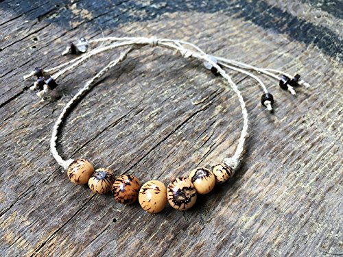 Adjustable Handmade Hemp Anklet, Acai Beads | Coconut Shell Jewelry | Quartz Gemstone, Seven Wish, Braided - Coconut Shell Jewellery