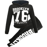 GUBA® New Girls Brooklyn New York 76 and Star Hooded Crop TOP & Bottom Set Kids Tracksuit Lounge WEAR