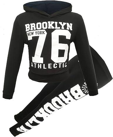 GUBA/® New Girls Brooklyn New York 76 Star Hooded Crop TOP /& Bottom Set Kids Lounge WEAR