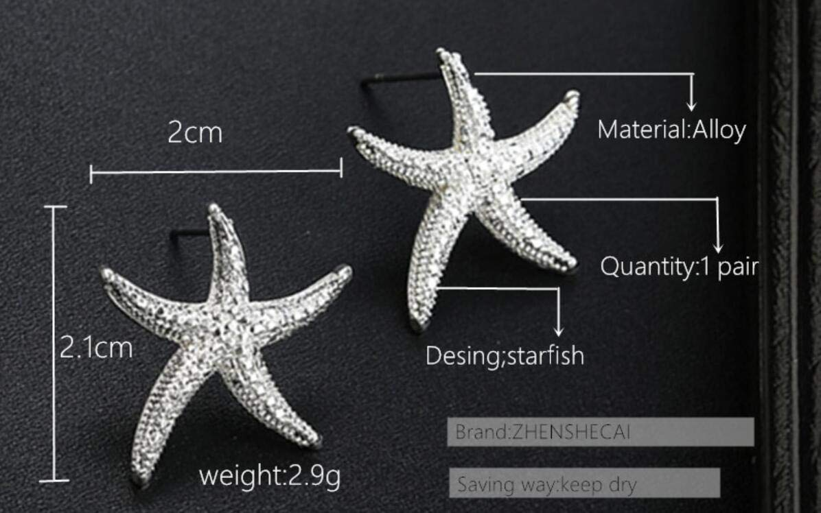 Silver Nautical Starfish Stud Earrings,Starfish Earrings With Black Silver Color Alloy Stud Earring For Woman Fashion Jewelry Party Brincos Femin Gift Dropshiping (Silver)