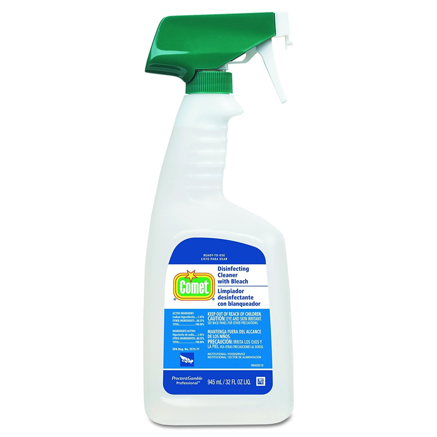 Hospital Grade Bulk Disinfecting Bathroom Sanitizer by Comet Professional, Multi-Purpose Spray Cleaner with Bleach Wipes up Pathogens for Commercial Use, 32 oz. (Case of 8)