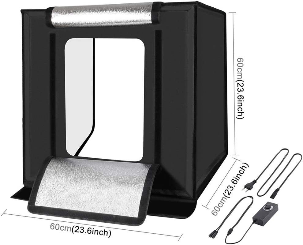 QKa Photo Box 24 inch//60 cm Photo Studio Light Box Portable Photography Shooting Tent with Movable Dimmable LED Lights with 6 Color Backdrops
