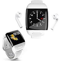 streamvox Reloj Inteligente con Audifonos Incluidos Inalambrico TWS Monitor Cardiaco Bluetooth Color Blanco