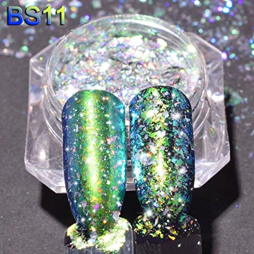 48 Piece Kit (Nail Powders Art Mirror Glitter Aluminum Flakes Magic Mirror Effect Powders Sequins Nail Art DIY by Staron (K))
