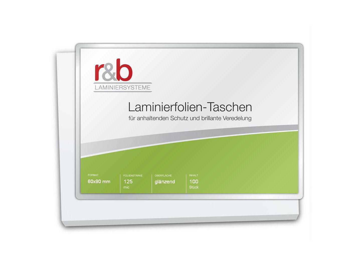 R & B FT BC 125Pouches Business Card, 60X 90mm, 2X 125Mic, 100pezzi, lucido r&b Laminiersysteme FT-BC-125