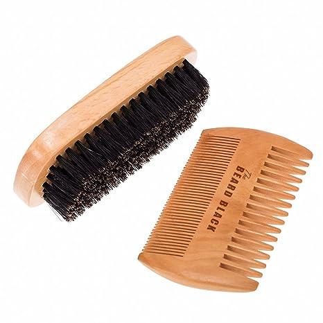 Natural barba Cepillo de cerdas de jabalí y hecho a mano kit de peine para barba