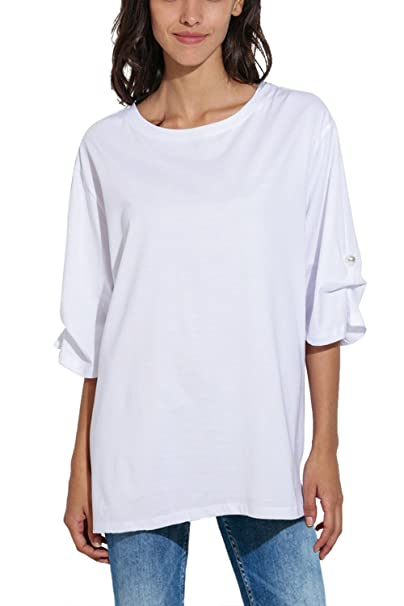 80b23f4e Image Unavailable. Image not available for. Color: Women's Summer Basic 3/4  Sleeve Round Neck Casual Loose Fit Plus ...
