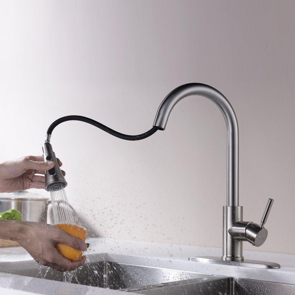 Kitchen Faucets with Pull Down Sprayer - Kablle Commercial Single Handle Brushed Nickel Kitchen Faucet, Single Level High Arch Pull Out Stainless Steel Kitchen Sink Faucets with Deck Plate by Kablle (Image #5)
