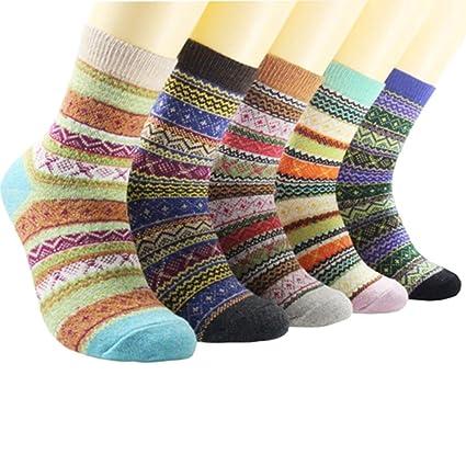 Egurs 5 Pares para Mujer Calcetines de Lana de Punto Invierno cálido Grueso Vintage Casual Calcetines
