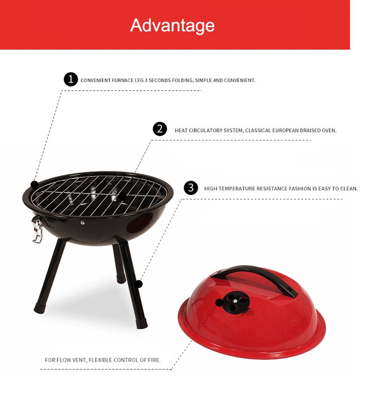 Amazon.com: Queena portátil parrilla de carbón, pequeño 12 ...