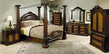 Amazon.com: Montecito Queen Canopy Bedroom Set with ...