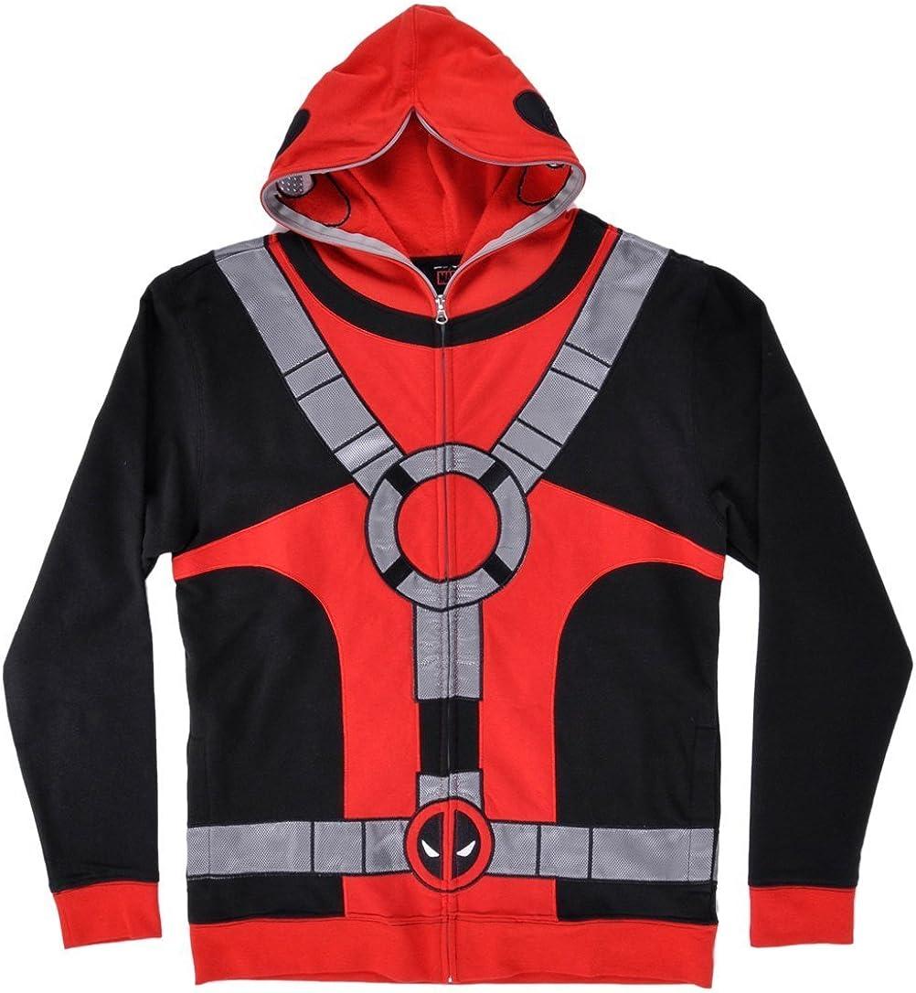 Mens Deadpool Hoodie Marvel Comics Red