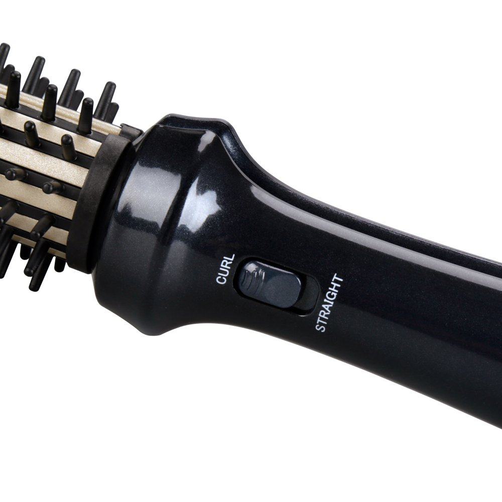 MHU Professional Hot Brush & Hair Curler & Hair Straightener 3 in 1 and Dual Voltage1.25 Inch Ceramic Curling Wand