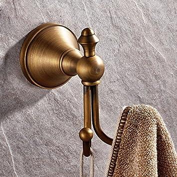 Gancho para toallas vintage FDLK,Vintage ganchos de latón macizo,FDLK Vintage Antique Hat ropa de abrigo Toalla de baño Robe ganchos de pared colgador de ...