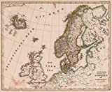 World Atlas | 1822 Danemark, Island u. Faroer, Schweden und Norwegen. (Denmark, Faroe Island, Sweden, Norway). | Historic Antique Vintage Map Reprint