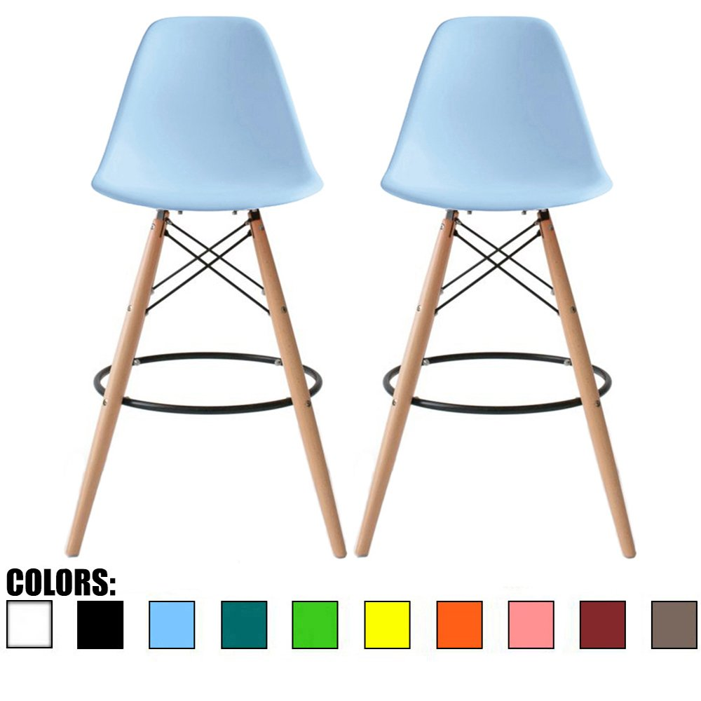 2xhome - Set of Two (2) - Blue - 25'' Seat Height Eames Style DSW Molded Plastic Bar Stool Modern Barstool Counter Stools with backs and armless Natural Legs Wood Eiffel Legs Dowel-Leg