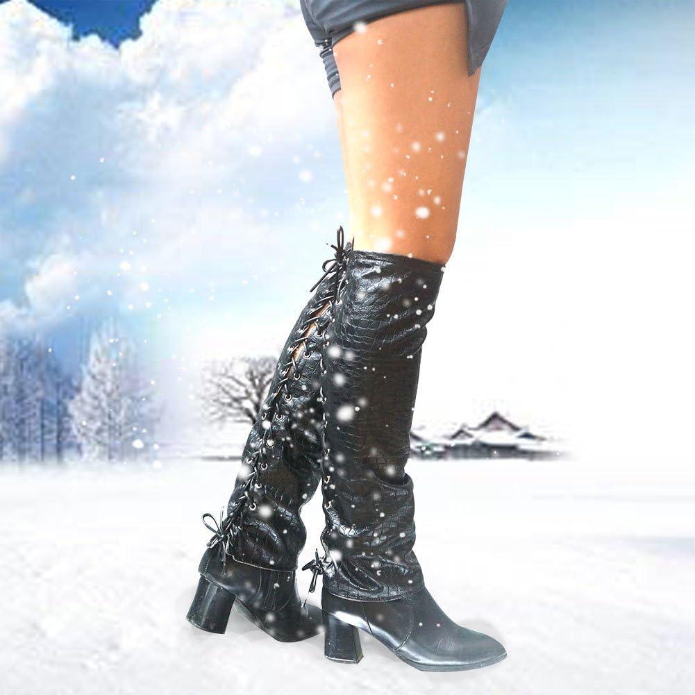 Freedo Gu/être Femme Hiver Jambi/ères attach/é en cuir Noir chaud pour Automne et Hiver /à la mode Taille unique