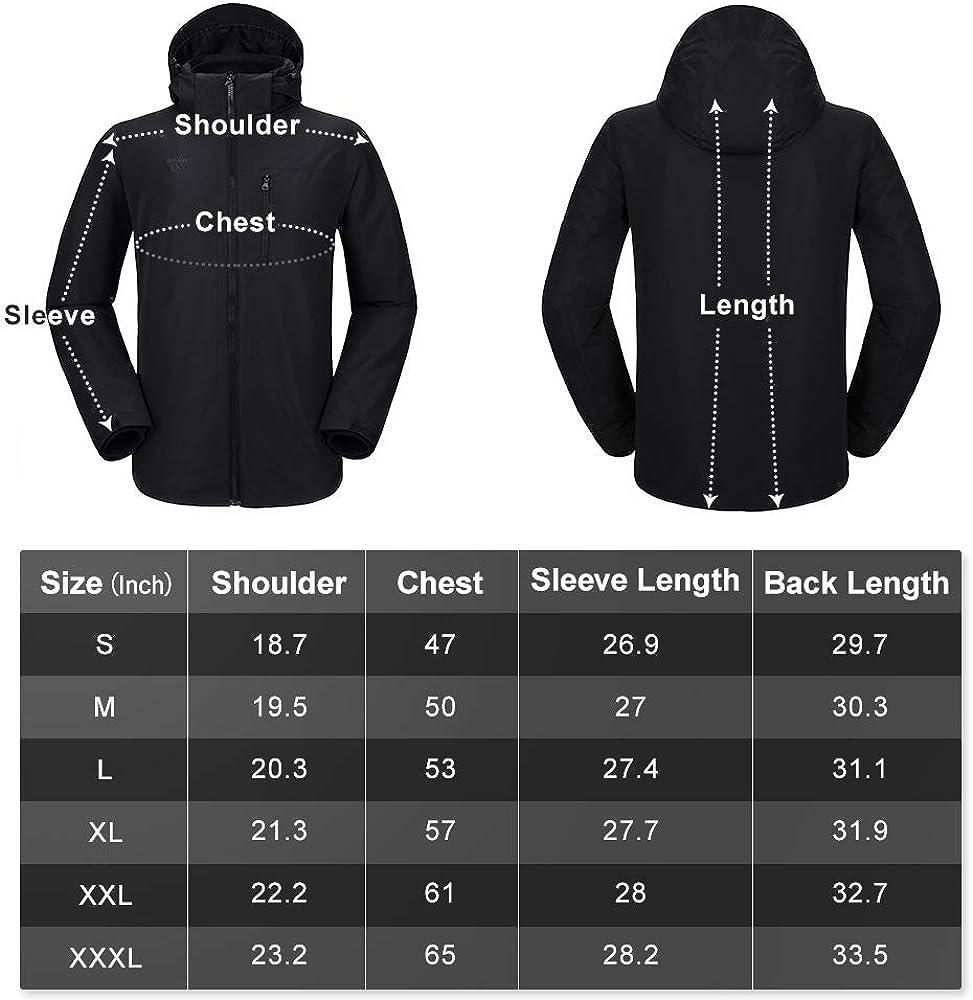 Mens 3 in 1 Winter Jacket Waterproof Ski Jacket Snow Coat Windproof Hooded with Detachable Liner