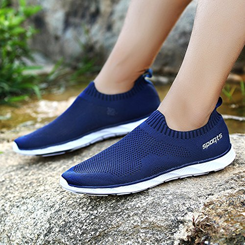 Aqua Blue Breathable Casual Water Mesh Beach Water Slip on Aqua OUYAJI Athletic Sneakers Unisex Shoes Outdoor gE7Z8Uqw