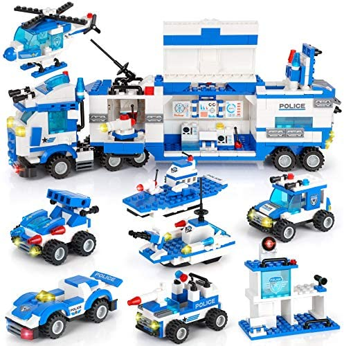 1338 Pieces City Police Station Mobile Command Center Truck Building Blocks Set in 25 Different Models Police Car, Helicopter, Patrol Boat with Storage Box Roleplay Toy Gift for Kids Boys Girls 6-12