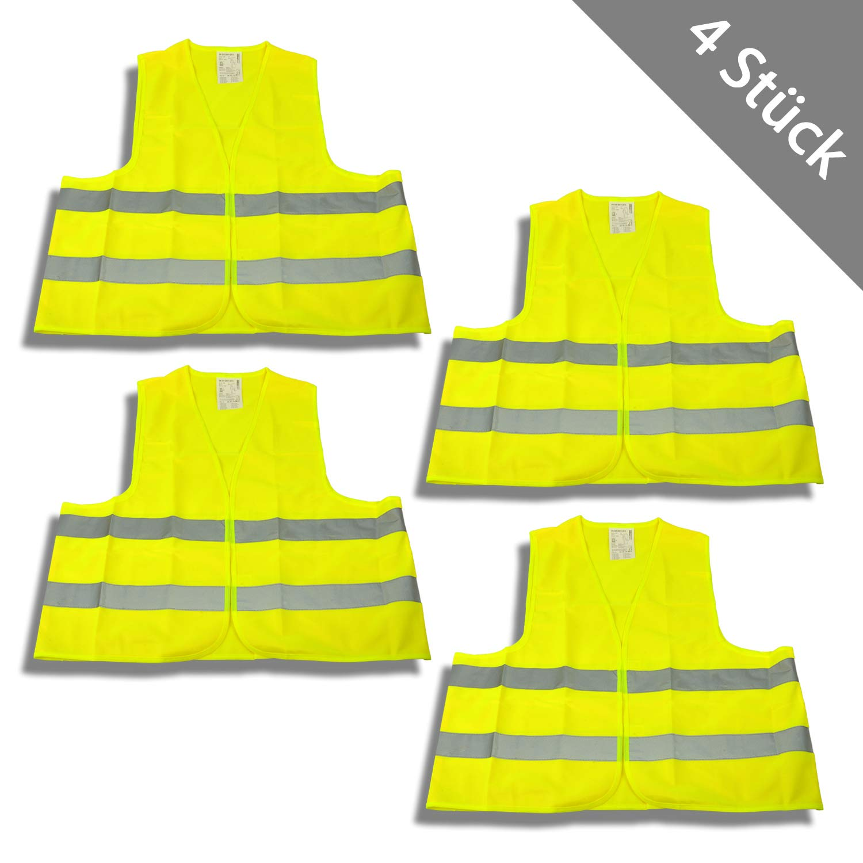 HSM 4 x Warnweste XL Sicherheitsweste Signalweste Unfallweste Weste Neon Gelb