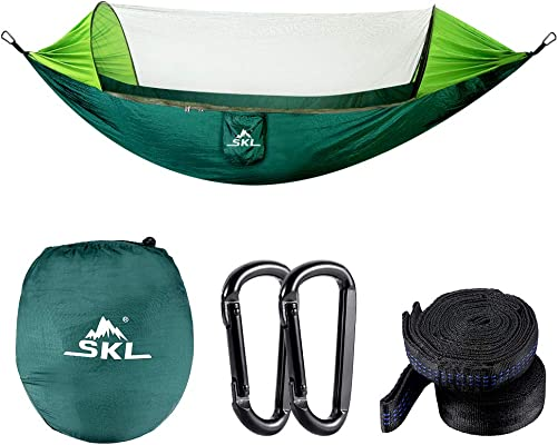SKL Camping Hammock Lightweight Double Hammock Portable Parachute Nylon Hammocks for Outdoor Backpacking Hiking Travel Backyard Beach, Hammock Tree Straps, Carabiners Carrying Bag Included