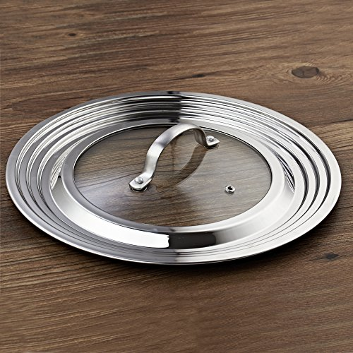 Cook N Home Stainless Steel with Glass Center Univeral Lid, Fits 8 to 12-Inch